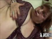 Fat mature babe with big hangers fucks