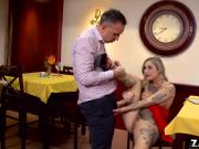 Porn star Kleio Valentien sucks fan cock under the table
