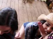 Teen cowgirls milking a big cock outdoors