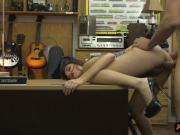 Slender amateur babe convinced to fuck with pawn man