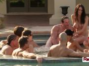 Swingers get together by the poolside to meet and greet other couples