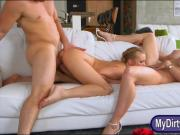 Cory Chase and Bailey Brooke crazy 3some sex on the couch