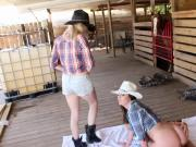 Seductive farm girls rides a meaty hard cock
