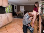 Shae Celestine fucking her friends huge cock in the kitchen