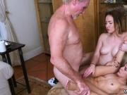 Old young outdoor and man Frannkie had the two gal make out