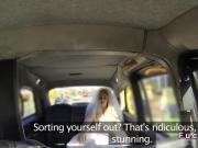 Bride in wedding dress bangs in cab