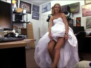 Tight blond babe sells her wedding dress and screwed hard