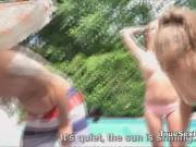 Fucking bikini babes by the pool