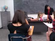 Busty teacher Romi Rain toy fucked by student Giselle Palmer