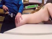 Two very horny security guards fuck sexy young brunette shoplifter