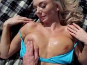 Hot blonde babe Molly Mae fucked in the beach for cash