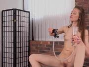 Gorgeous nympho is pissing and fingering bald twat