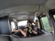 Pretty ebony babe takes stiff white rod in car