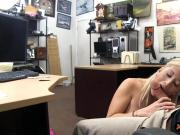 Big tits blonde babe sucks off and nailed by pawn man
