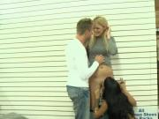 Sweet blonde along with skinny babe smashed in local store