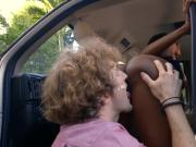 Huge boobs ebony gets pounded by white man in the van