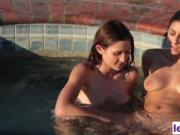 Ellena Woods and Nina North in pool lesbian action