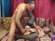 Gorgeous redhead granny pounded hard by a fat cock
