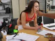 Kinky brunette gets on all fours for casting director to fuck her pussy hard