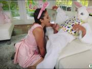 Cutie Avi Love drilled by pervert easter bunny on the couch