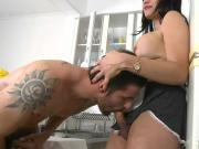 Lusty shemale maid Laura Andrade asshole rammed hard