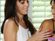 Brunette Alana Cruise and Uma Jolie licking and dildo play