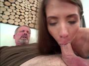 Stefanie is sucking off an old guys cock before she rides it