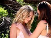 Aidra Fox and Lena Nicole have passionate sex in the garden