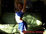 Golden Ex Girlfriend Dances Wearing Cheerleader Outfit