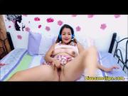 Asian oriental schoolgirl rewards her pussy