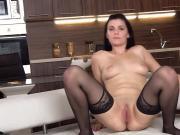 Wacky czech chick gapes her slim vagina to the strange