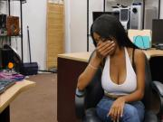 Busty ebony babe Brittney ges fucked hard in the pawnshop