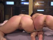 Two slaves in rope bondage anal fucked