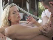 Sexy blond Viktoria Pure gives footjob before getting fucked