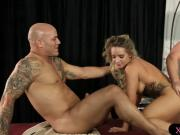 Busty blonde masseuse Cali Carter fucked by 2 big cocks