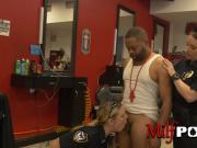 Curvy female cops barge into barbershop to arrest a criminal