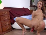Striking chick is urinating and pleasing shaved vagina