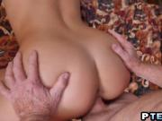 Horny Old Farts Enjoying A Blonde Teen Babe In A Threesome