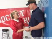 Cute Blonde Athlete Blows Coach's Penis