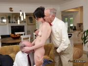 Young Slut Alex Harper Gets Shared By Old Men