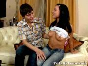 Barely Legal Brunette Teen Blows Hungry Cock