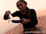 Black Chick Screws Cunt With Sex-Toy