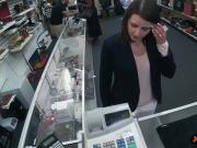 Sexy brunette wifey fucked by pawn dude at the pawnshop