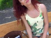 Red hair Czech babe banged in the woods for some money