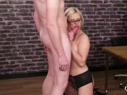 Frisky peach gets jizz load on her face sucking all the spunk