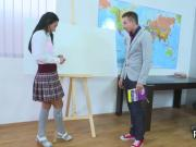 Lovesome schoolgirl was seduced and reamed by her older teacher