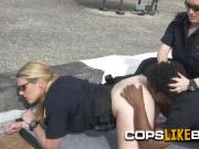 Peeping tom is caught spying on naked women by horny milf cops