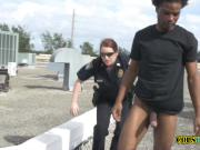 Peeping tom is chased and apprehended by horny milf cops