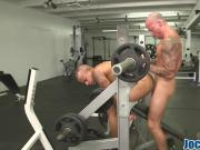 Muscular gay guy gets his tight butt banged by his horny gym partner