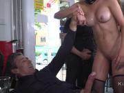 Brazilian slave gags cock in public